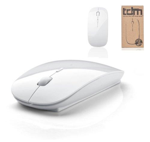 Tim And Ted tedim® - kleine Wireless kabellos Funk Maus mit USB Empfänger Farbe: Weiss für Apple Mac