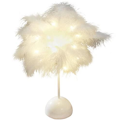 ZOYLINK Lámpara De Mesa De Plumas Decorativa Creativa De Moda Romántica Con Pilas Lámpara De Noche Con Luz Led Adorno De Vacaciones Románticas