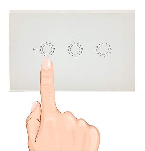 Interruttore Luce Smart WiFi Touch Intelligente, Per Amazon Alexa Google Home, tattile 1 2 3 gang luci controllo vocale, APP TUYA SMART controllo remoto, 503 Italia,Vetro Temperato PVC,Funzione Timer