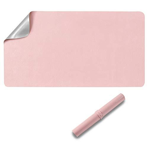 Protector de escritorio de doble cara, 60 x 35 cm, poliuretano impermeable, alfombrilla para ratón, color rosa y gris