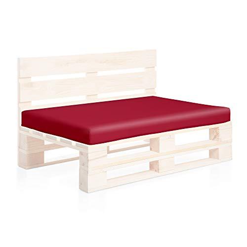 SUENOSZZZ-ESPECIALISTAS DEL DESCANSO Colchoneta Asiento para Sofas de palets, cojin Chill out Relleno con Espuma y enfundado en Polipiel Color Rojo