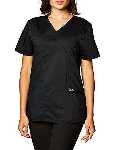 Workwear Revolution Women Scrubs Top Mock Wrap WW610, S, Black