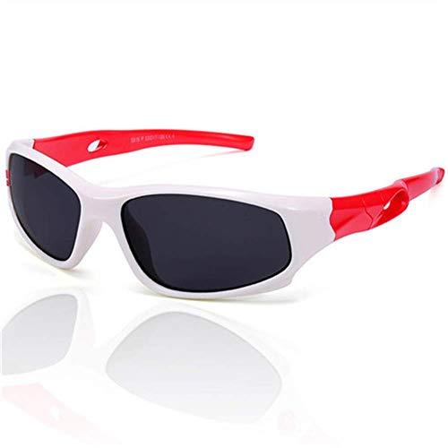 PL-IMK Kinder-Sonnenbrille, polarisiert, für Jungen und Mädchen, Kinder-Sport-Sonnenbrille, Sicherheitsbeschichtung, UV400, weiß