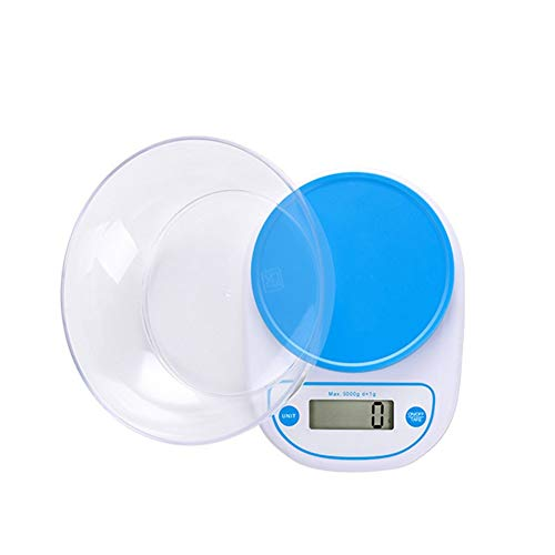 CHICTI Báscula de Cocina 5kg, Alta precisión Balanzas Digitales, Multifuncional Pequeño Comida Hornear Báscula eléctrica con tazón Pequeño (Color : Blue)
