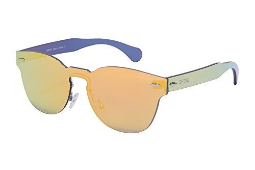 SHINU Clasico Marco Redondo EspejoGafas de sol de moda Gafas de sol populares Gafas de Sol del Estilo de la Fiesta de una Pieza de las Gafas de Sol-SH71002