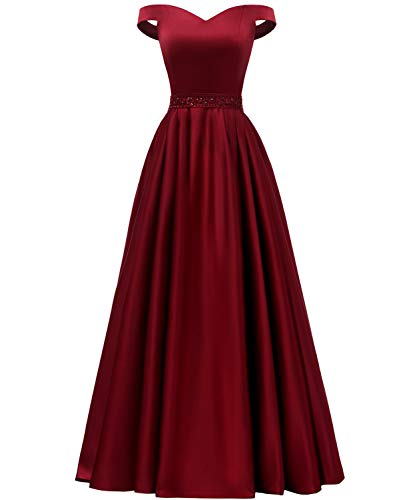 YORFORMALS Women's Off The Shoulder A-line Beaded Satin Prom Dress Long Evening Ball Gown with Pockets Size 14 Burgundy