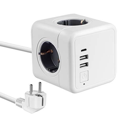 Steckdosenleiste mit Kabel, Mehrfachsteckdose mit 2 USB Ladegerät Anschluss und 1 Typ-C Port, 7-in-1Adapter mit USB Ladegerät, kompatibel für Smartphone Laptop usw. und verschiedene Elektrogeräte