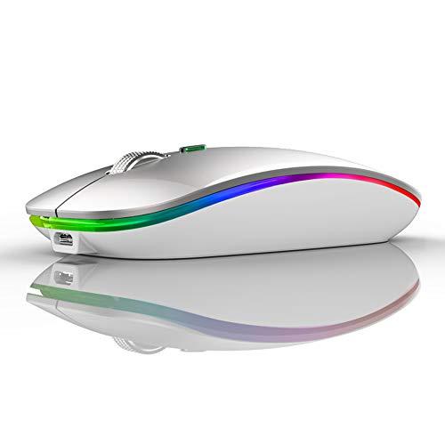 Ratón inalámbrico LED, Uiosmuph G12 Delgado Recargable inalámbrico silencioso ratón, 2.4 G, USB óptico inalámbrico, ratón con Receptor USB y Adaptador Tipo C (Plata)