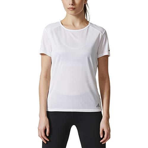 adidas Women's Running Short Sleeve Tee,White,Small