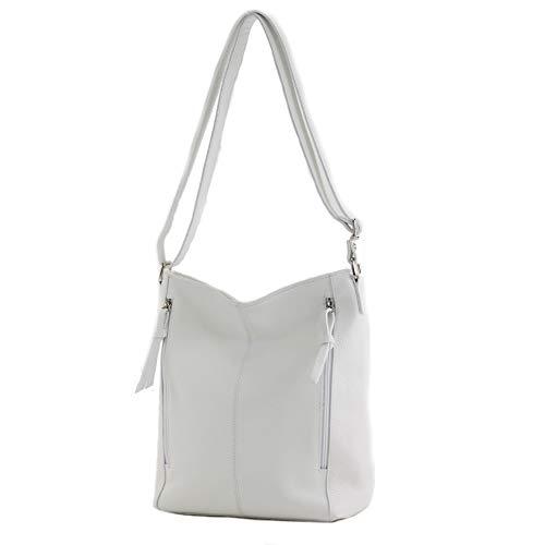 modamoda de - T195 - ital Umhängetasche Schultertasche aus Leder, Farbe:Weiß