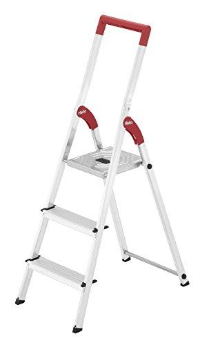 Hailo L50, Alu-Haushaltsleiter, 3 Stufen, EasyClix, roter Haltebügel, Eimerhaken, belastbar bis 150 kg, made in Germany, 8150-307