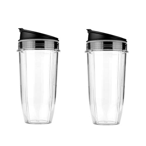 Hicello 2Pcs 24oz Cup & Lid Replacement Set, Fit for Nutri Ninja Auto IQ and Duo Blenders, BL480, BL490, BL640, & BL680