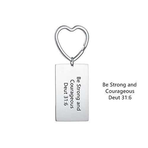 Personalisierter Bibelschlüsselring für Männer Frauen - Gravur Name Datum Schlüsselanhänger für Mädchen Schlüsselringhalter Gravierter Text Individuelle Geschenke zum Geburtstagsgedenk-Jubiläum
