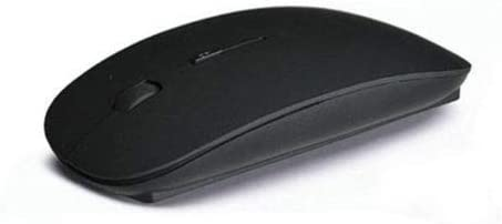 Cali Accessories Mouse Ultra Thin USB Optical Wireless 2.4G Receiver Super Slim for Computer PC (Black)