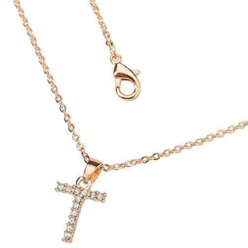 Sylar Collar con Colgante de Letra Inicial Simple Alfabeto a-Z para Collares y Colgantes Iniciales Collar de Cadena de clavícula de Diamantes