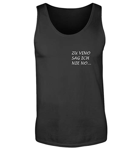 OneCode Camiseta de tirantes para hombre, diseño con texto en alemán 'Zu Vino Sag Ich Nie No' Negro L