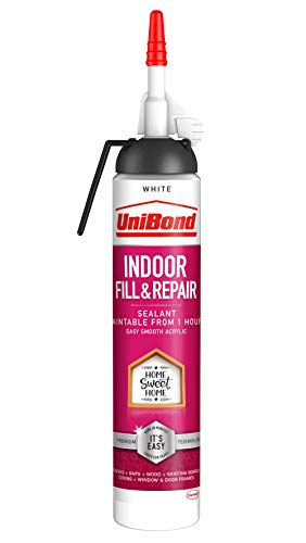 UniBond Indoor Fill&Repair Sealant, Joint Filler for Interior Use, Ideal for Cracks, Door & Window Frame Sealant, Easy to Use White Sealant, 1 x 462 g Cartridge