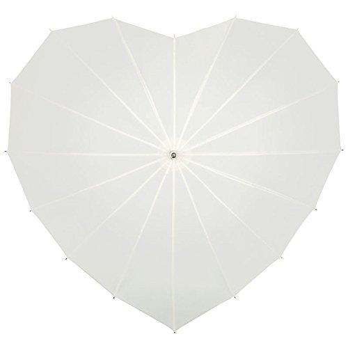 VON LILIENFELD Regenschirm Herzschirm Damen Sonnenschirm Brautschirm Hochzeitsschirm Herz Creme