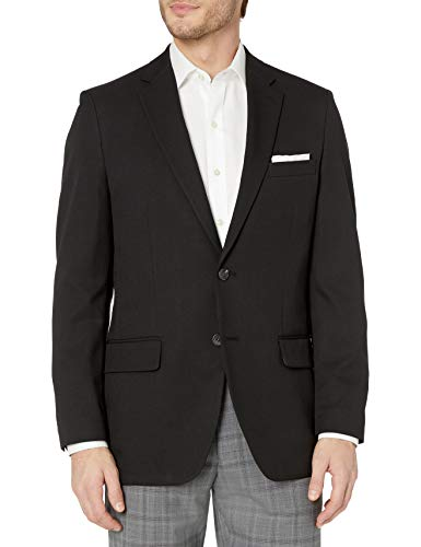 Haggar Men's in Motion Travel Stretch Tailored Fit Blazer, Black, 38R