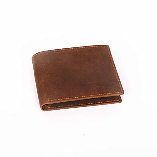 ZLIANGQ Cuero de la Cartera de Hombres Corta, Clip de Cartera de Cuero de la Primera Capa, Paquete de Tarjetas de crédito multiparón