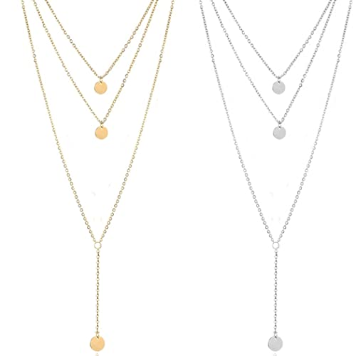 Fdesigner Fashion Layered Long Necklace Coin Pendant Necklaces Chain Charm Necklace Jewelry for Women and Girls (Gold)