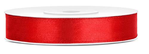 Libetui Satinband Rot 12mm Schleifenband Rot Satin Dekoband Rot Geschenkband Deko Band, Weihnachtsdeko, Geschenkverpackung, Hochzeit, Rolle 25m Farbe Rot 12mm