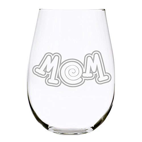 Copa de vino sin tallo para mamá Swirl grabada con láser, regalo para el día de la madre, 11 onzas