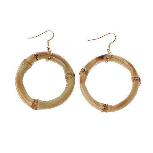 Pendientes de aro de madera de bambú natural con círculo redondo