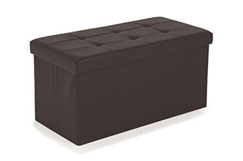Soliving Square Lot de 2 Pouf Pliant avec Couvercle, Polyuréthane, Chocolat, 76 x 38 x 38 cm