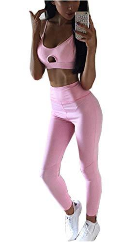 Loalirando Completo Sportivo Donna Tuta da Ginnastica Rosa 2 Pezzi Canotta Sportiva Corta+ Pantaloni a Vita Alta Sportwear per Yoga Corso Palestra Fitness (Rosa, M)