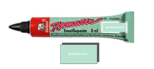 Helmecke & Hoffmann Remalle Emaille Paste Emaillelack Reparaturlack Lack in vielen Farben je 8 ml + Pinsel Fuer Jede Tube (Greenwich)