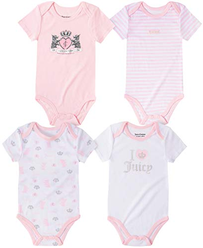 Juicy Couture Girls' 4 Pieces Pack Bodysuits, Baby Pink/White, 12M