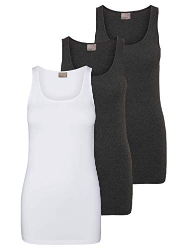 VERO MODA 10229554 VMMAXI My Soft Long Tank TOP GA 3P, 175683004BRIGHT White/Dark Grey Mel & D, XXL