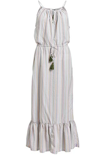 khujo Damen Kleid Cascada mit glitzerndem Streifenmuster wadenlanges Sommerkleid mit Volant
