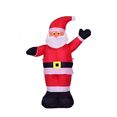 SSBH 240cm Santa Claus White Beard Black Hand Inflatable Model Ornament Event Venue Layout Props Dress Up Outdoor Indoor Lawn Garden Yard Holiday Mall Hotel Door Decoration