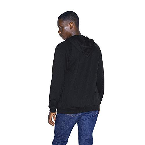 American Apparel Men's California Fleece Long Sleeve Zip Hoodie Hooded Sweatshirt, Black, Large