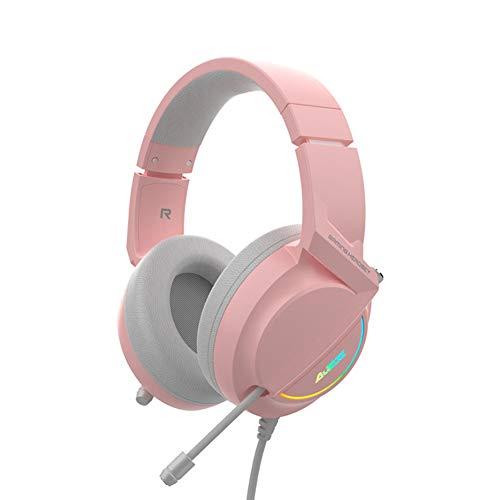 TAORANG Auriculares para Gaming Profesional con Cable USB AX365 con Micrófono Controladores de 50Mm 7 1 Envolvente Auriculares LED con Cancelación de Ruido para Ordenador Portátil