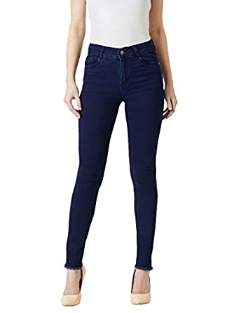 Miss Chase Women's Skinny Fit Frayed Hemline Denim Jeans
