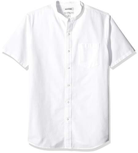 Goodthreads Herren Regular Fit Oxford-Hemd mit Stehkragen und kurzen Ärmeln, Weiß (White Whi), Large
