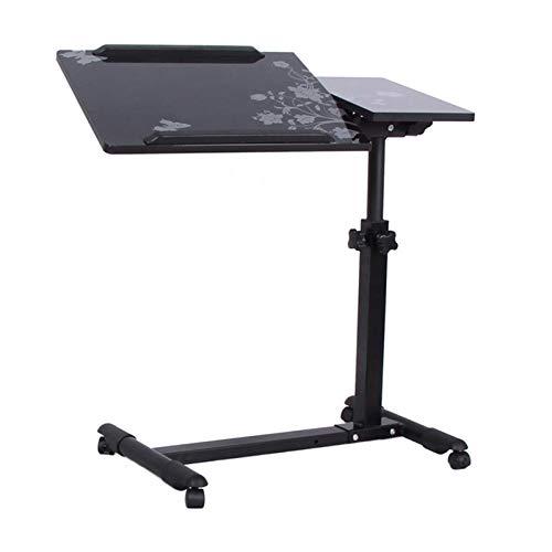 ALBBMY Laptoptisch Höhenverstellbar, Laptopständer Holz, Mit Rollen, Drehbar, Mobiler Betttisch Mit Rollen Laptopwagen (Color : Black Flower, Size : Regular)
