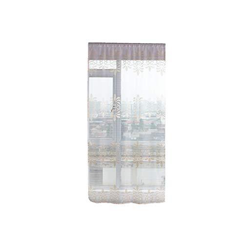 Xmiral Türvorhang Gardine Stickerei Tüll Durchscheinend Einfarbig scheibengardine mit Stangenloch 100x200cm(N)