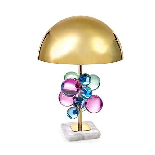 JJZXD Creativa de Oro de Hardware Dormitorio lámpara de Mesa Decoración de Setas Diseño de Escritorio de la decoración LED de luz Multicolor Bola de Cristal (Color : A)