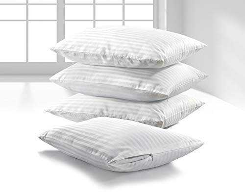 K&A 100% Cotton Satin Stripe Pillow Protectors, Pack of 4 Zippered Pillowcases - Hypoallergenic - Dust Mite Protection - 220 Thread Count Hotel Quality Pillow Covers