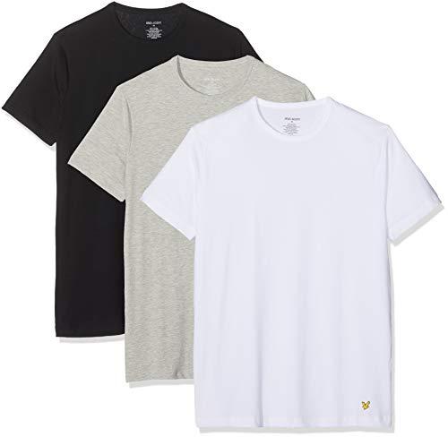 Lyle & Scott Herren Maxwell T-Shirt, Mehrfarbig (Bright White/Black/Grey Marl 9000), (Herstellergröße: Large)