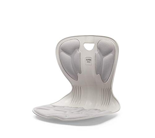 【Monna】骨盤サポート 新カーブルチェア 椅子 姿勢 ボディメイク 美 Style 携帯 便利 (アイボリーグレー)