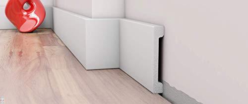 10 Stück / 20 Meter Sockelleiste Fußleisten Bodenleiste - DP6 weiß - 2 Meter & hartes Material