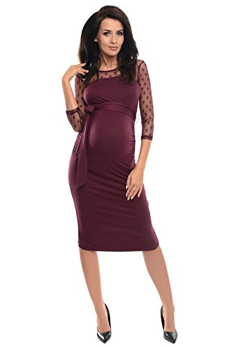 Purpless Maternity Ruched Bodycon Pregnancy Dress with Sheer Mesh Panel D008 (8, Plum)