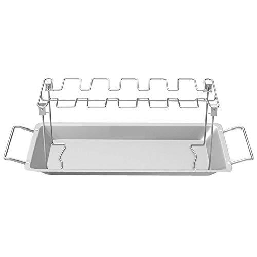 Kamenda Hähnchenbein-Flügelrost 14 Schlitze Edelstahl Bräter Ständer mit Auffangschale für Smoker Grill oder Backofen, spülmaschinenfest, antihaftbeschichtet, ideal für Grillen, Picknick