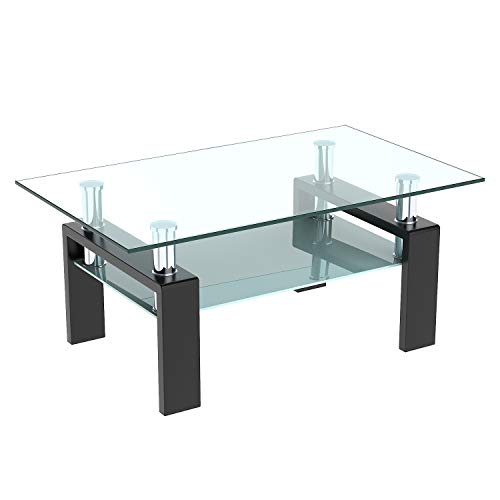 DKLGG Glass Coffee Table, Center Tables for Living Room with Lower Shelf Rectangle (Black)