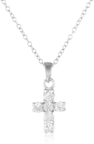 "Sterling Silver Swarovski Zirconia Delicate Cross Pendant Necklace, 18.5"""